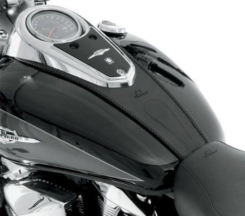 (Mustang Black Plain Tank Bibs for Harley Davidson 2002-2008 Honda VTX 1800C - One Size)