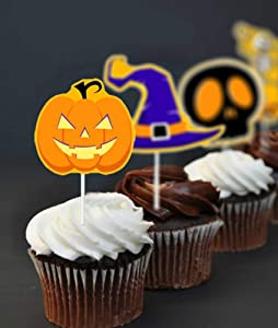 Halloween Theme Cupcake Toppers, Food/Appetizer Picks for Halloween Party Cupcake Mini Cake Decorations, 6 Style set of 48Pieces