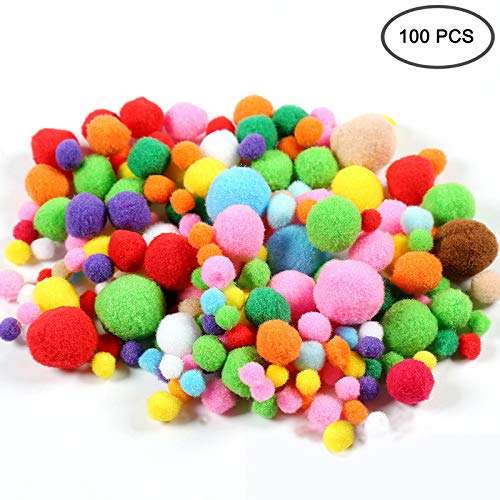 100 Pcs Pom Poms Craft Making Assorted Sizes & Colors High-Elastic Pom Poms Creative Craft DIY Material