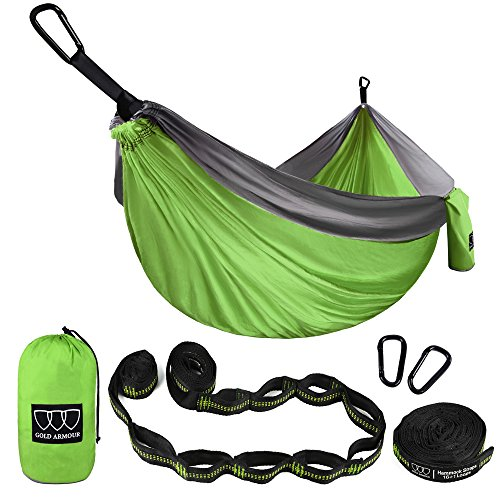Gold Armour XL Double Parachute Camping Hammock - Tree Portable Max 1000 lbs Breaking Capacity - FREE 16 Loops Tree Strap & Carabiners Backpacking, Camping, Hiking, Travel, Yard (Lime Green/Gray) (Large Gold Eagle)