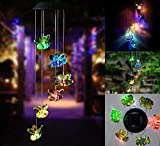 Wishshopping Beautiful LED Color-Changing Wind Mobile Lights, Indoor Outdoor Solar Powered Waterproof Windlights Hanging Lamp for Home/Party/Night/Garden/Festival Decor/Garden Gift,Bee