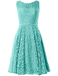 MACloth Women Lace Cocktail Dress Vintage Knee Length Wedding Party Formal Gown