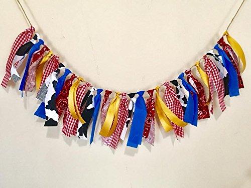 Fabric Barnyard - Farm fabric tassel garland/tassel garland/high chair bunting/cowgirl/barnyard decor/tassel banner/fabric garland/farm party decor/farm party