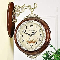 MGE UPS Systems Clock Wall Clock,Bilateral Wall Clock, Solid Wood Living Room Creative Deco Clock [Retro] Silent Quartz Clock (Color : A)