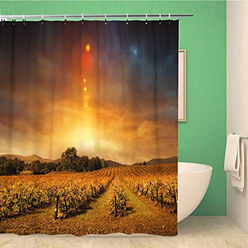 Awowee Bathroom Shower Curtain Vineyard Beautiful Sunset Over Barossa Valley in Autumn Wine Polyester Fabric 60x72 inches Waterproof Bath Curtain Set with Hooks