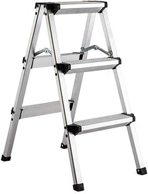 Nevy- Taburete De Escalera Aluminio Aleación 3 Pasos Multifuncional Escalera De Silla Plegable Uso Dual Portátil Espesamiento Interior, Plata (Tamaño : 39x55.5x74cm): Amazon.es: Hogar