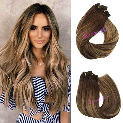Human Hair Extensions Brown with Blonde Highlights 18 Inch Full Head Straight Remy Hair Clip in Extensions Blonde Balayage 120g 7 Pieces