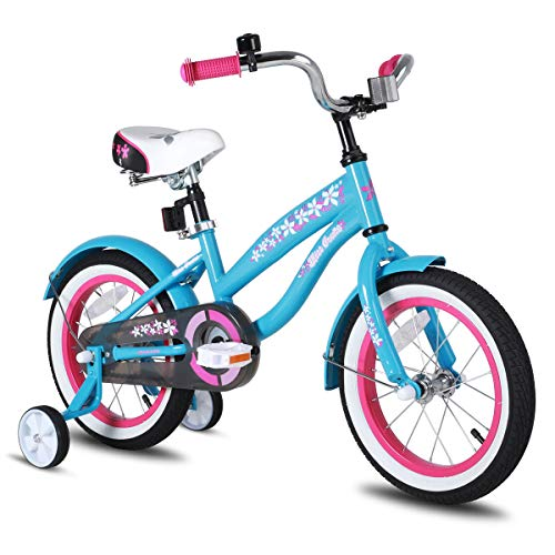 JOYSTAR 14 Inch Girls Bike with Training Wheels & Bell for 3 4 5 Years, Children Beach Cruiser Bicycle with Fender, Blue (In 14 Girls Bike)