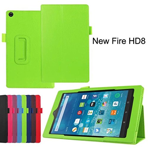 Price comparison product image Kindle Fire HD 8, LUNIWEI Leather Stand Cover Case