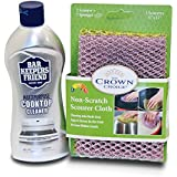 BAR KEEPERS FRIEND Cooktop Cleaner Kit. Liquid (13 OZ) and Non Scratch Scouring Dishcloth | Multipurpose, Glass Ceramic Stovetop, Soft Cleaner and Non Scratch Dish Cloth