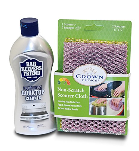 Price comparison product image BAR KEEPERS FRIEND Cooktop Cleaner Kit. Liquid (13 OZ) and Non Scratch Scouring Dishcloth | Multipurpose, Glass Ceramic Stovetop, Soft Cleaner and Non Scratch Dish Cloth
