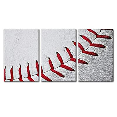 Fascinating Work of Art, Made For You, Close Up of Baseball Seams Wall Decor x3 Panels