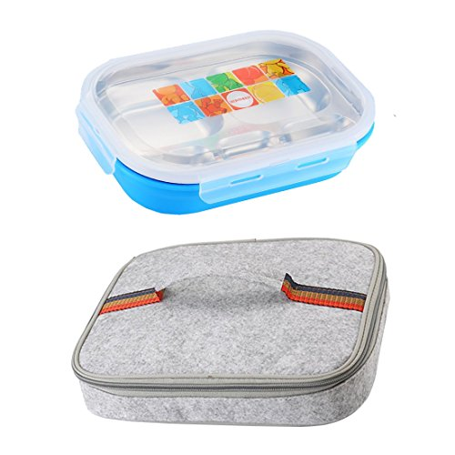 lunch Box Stainless Steel Insulated Bento Box Food Storage Container 5 Compartments with Insulated Bag (Blue) - Insulated Food Compartment