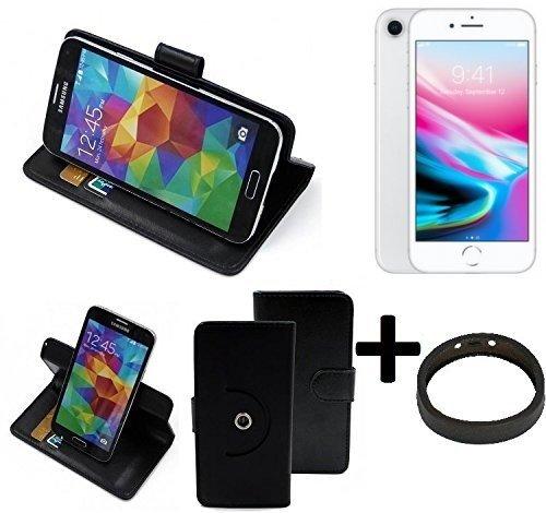 TOP SET: Case 360° Cover pour Smartphone Apple iPhone 8, noir + protection de anel | Fonction Stand Case Wallet BookStyle meilleur prix, la meilleure performance - K-S-Trade (TM)