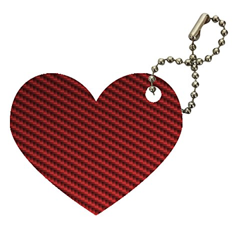 Carbon Fiber Red Pattern Background Heart Keychain by Moonlight (Carbon Fiber Heart Cover)