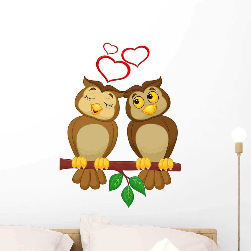 Amazon Com Wallmonkeys Cute Couple Cartoon Owl Wall Decal Peel
