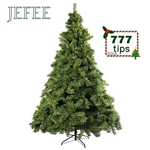 JEFEE Hinged Artificial Christmas Pine Tree, Premium Artificial Tree with Solid Foldable Metal Stand, 6ft Green (777Tips) (Christmas Tree Artificial Pine)
