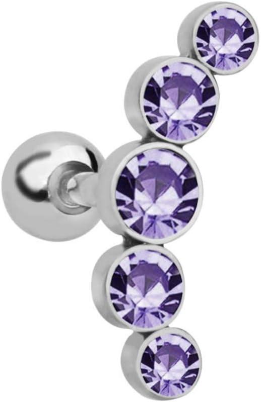 RIsxffp 1 pcs Femmes Rhinestone Cartilage H/élice Tragus Ear Stud Piercing Bijoux Rose