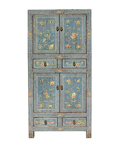 Black Oriental Storage Cabinet (Chinese Oriental Gray Flower Birds Graphic Slim Storage Cupboard Cabinet Acs3920)