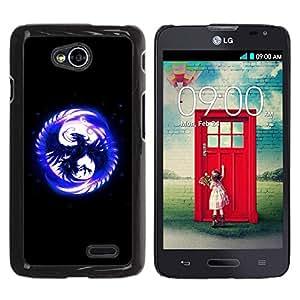 Be Good Phone Accessory // Dura Cáscara cubierta Protectora Caso Carcasa Funda de Protección para LG Optimus L70 / LS620 / D325 / MS323 // Blue Phoenix In Moon