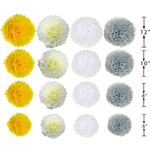 Yellow and Grey Wedding Decorations Tissue Paper Flowers Pom Poms Balls for Bridal Shower Bachelorette Anniversary Baby Girl Boy Birthday theme Party Supplies set (Yellow, Grey, Ivory, White) by G DECO