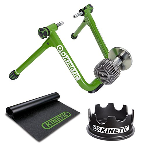 Kinetic T2700 Road Machine Smart Bike Trainer + Rubber Trainer Floor Mat and T750C Fixed Riser Ring
