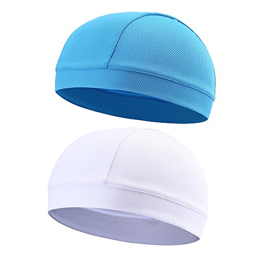 Cap Quick Dry Sports Sweat Beanie Great Cycling Caps Headband Sweatband for Man Woman (Blue & White) (Cycling Skull Head)