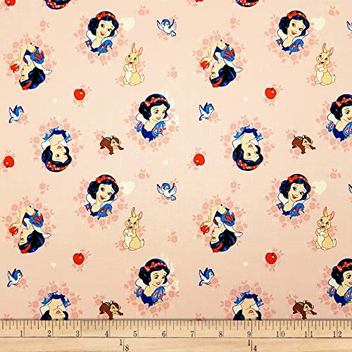 (Eugene Textiles Disney Forever Princess Snow White In Wreaths in Fabric, Light Coral, Fabric By The Yard)