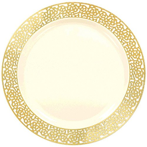 Round Plates Premium Party Tableware, 20 Pieces, Made from Plastic, Cream w/Gold Lace Border, 7 1/2