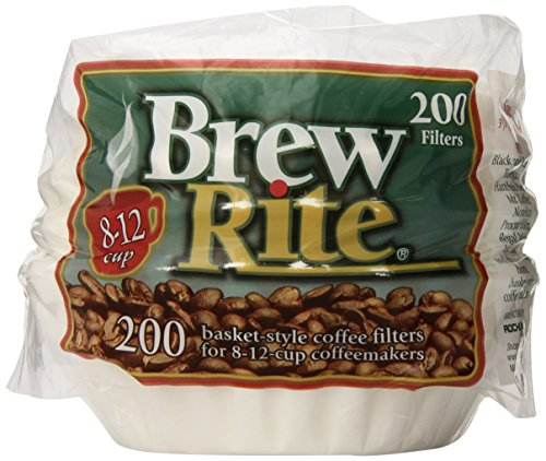 Brew Rite Basket Coffee Filters, 8-12 Cup, White Paper, 200-Count Bags (Pack of 12) ()