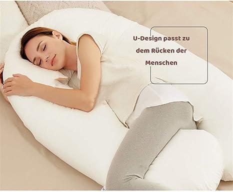 Lagerungskissen aus Baumwolle PUCHIKA Schwangerschaftskissen C-f/örmiges 130x85cm Seitenschl/äferkissen mit Abnehmbarem und Waschbarem Bezug Blau