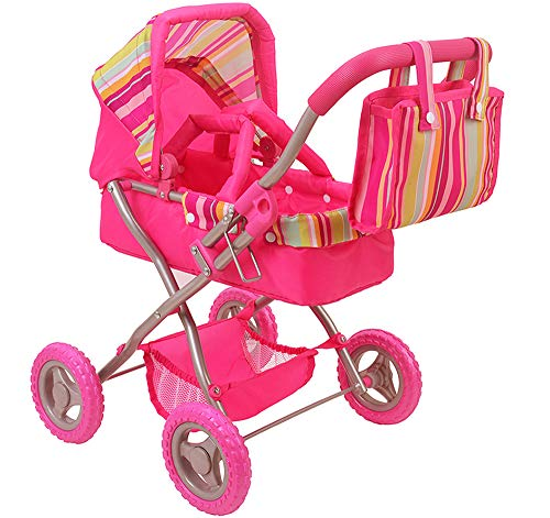 - CUBY Doll Jogging Stroller, My First Baby Toy Stroller, Doll Deluxe Pram Lightweight with Removable Carrycot and Diaper Bag, Birthday Gift for Kids