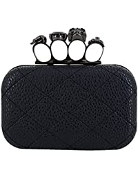 Womens Quilted PU Leather Skull Cross Bone Purses Kisslock Crystal Evening Clutch Shoulder Bags Black