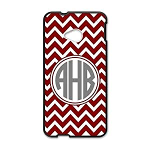 HTC One M7 Case Retro Red White Chevron Design VS Personality Circle Monogram Luxury Cover Case Plastic For HTC One M7 ALL MY DREAMS by supermalls