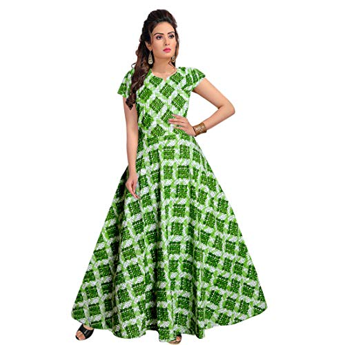 jwf Women's Cotton Fit and Flare Fabric Printed A-Line Maxi Midi Western Long Dress (Multicolour)