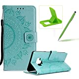 Strap Leather Case for Samsung Galaxy J3 2018,Mint Green Wallet Cover for Samsung Galaxy J3 2018,Herzzer Classic Retro Pretty Mandala Flower Embossed Magnetic Closure Stand Shockproof Flip PU Leather Back Case with Soft Silicone