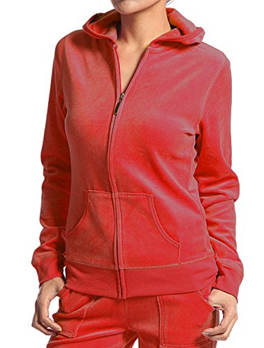 Red Velour Hoodie - Velour Classic Hoodie Sweat Jacket with Pockets (Small, Deep Red)