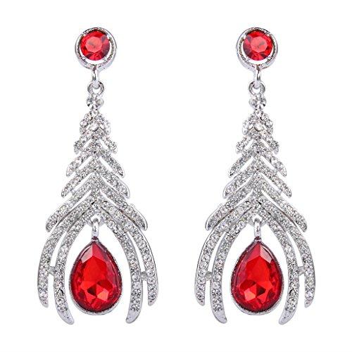 (BriLove Women's Elegant Peacock Plume Teardrop Cocktail Party Chandelier Pierced Dangle Earrings Silver-Tone Ruby Color)