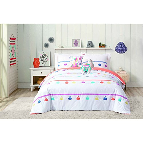 5 Piece Festive Tassel Llama Comforter Full Queen Set, Vibrant Multi Color Purple Blue Yellow Red Tassels Themed Bedding, Horizontal Stripe Line Party Decoration Theme Pattern, Cotton by N-A