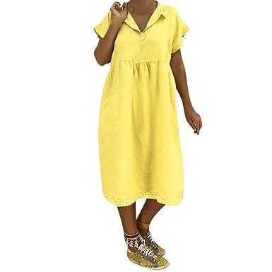 VEMOW Leinenkleider Damen 2019 Summer Solide Dress Leichte