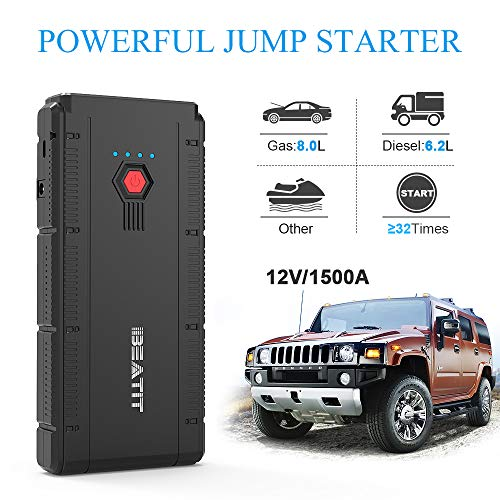 BEATIT BT-G22 QDSP 1500A Peak 12V Portable Car Lithium Jump Starter (up to 8.0L Gas and 6.2L Diesel) Battery Booster Phone Charger Power Pack with Smart Jumper Cables G22 by BEATIT (Image #1)