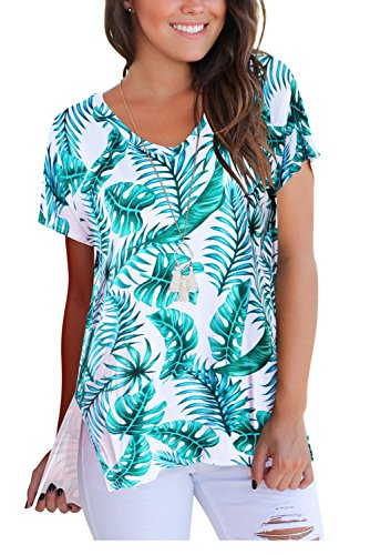 FAVALIVE T Shirt Women Short Sleeve Tops and Blouses V Neck Tees Blue L -