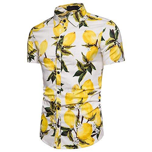 Winsummer Men's Lemon Button Down Short Sleeve Casual Slim Fit Hawaiian Shirt (White, US L) (Flannel Aloha)