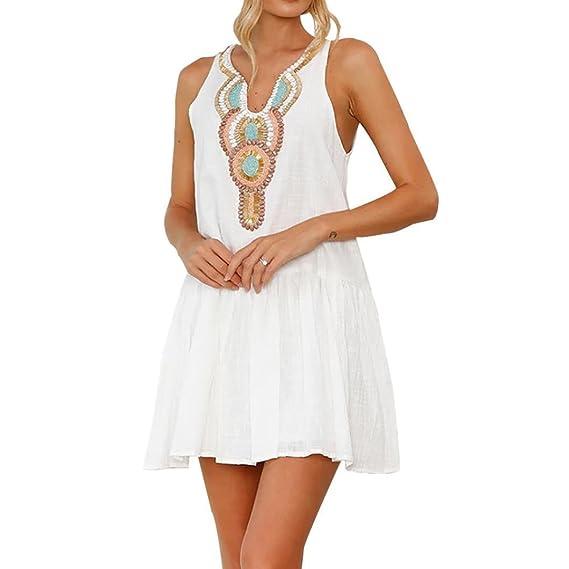 POLP Vestidos Largo ◉ω◉Cuello V Vestido Mujer Verano Mini Vestido Casual sin Mangas de Playa de Impresión Retro de Mujeres Vestido de Playa Niña Vestido ...
