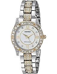 Armitron Womens 75/3996MPTT Swarovski Crystal Accented Two-Tone Bracelet Watch
