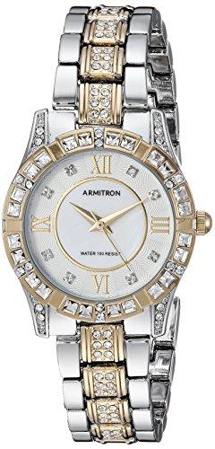 (Armitron Women's 75/3996MPTT Swarovski Crystal Accented Two-Tone Bracelet Watch)