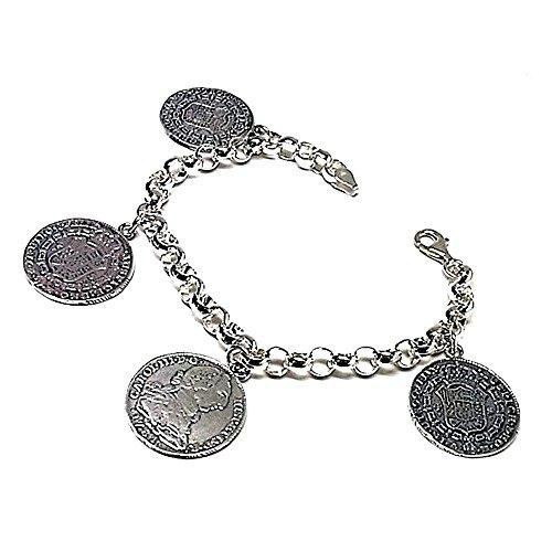 Bracelet 925m loi argent lisse quatre pièces suspendues 1781 [AB0030]