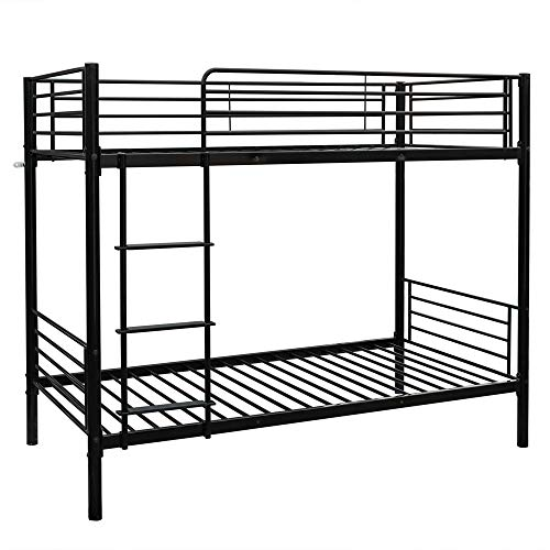 Optional Metal Finishes - Bonnlo Metal Bunk Bed Twin Over Twin Heavy Duty Bed Frame with Safety Guard Rails & Flat Ladder W/Rubber Cover for Kids Teens Adults, Black