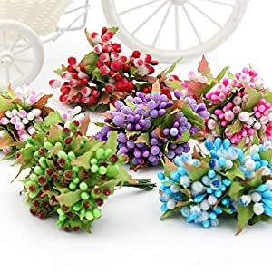 eu-knc Mini Glass Stamen Bud Artificial Flower Bouquet for Wedding Decoration DIY Wreath Gift Craft Flower 85