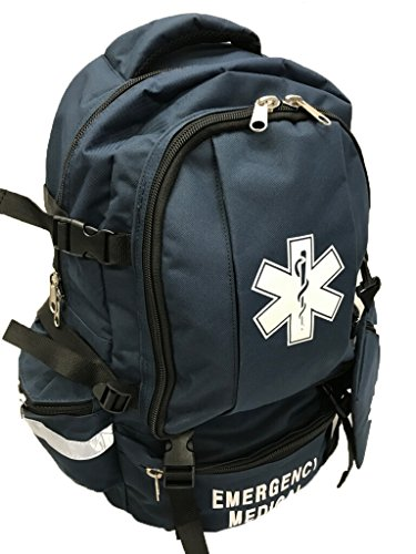 LINE2design EMS, EMT Emergency First Responder Deluxe First Aid Medical Trauma Backpack - Navy Blue